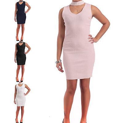 Vestito Donna Abito Aderente A Costine Tubino Mini Corto Scollato Perle  73381 f9f0b5fab08