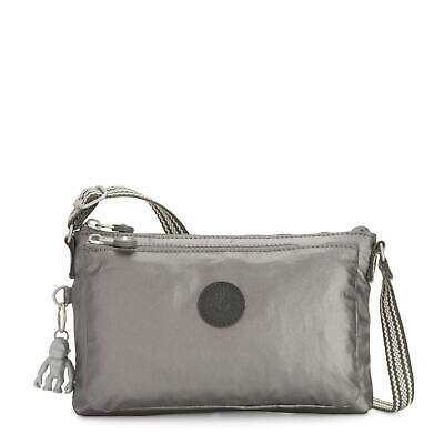 Kipling Mikaela Metallic Crossbody Bag Carbon Metallic