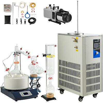 5l Lab Short Path Distillation Kit Turnkey Wvacuum Pump Chiller Glassware Kit