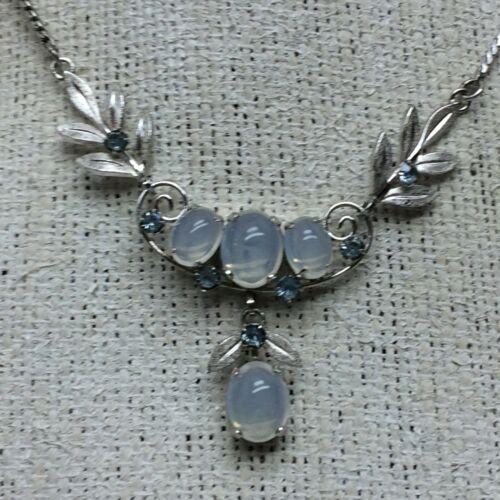 Sterling Ladies Van Dell Necklace Light Blue Stones