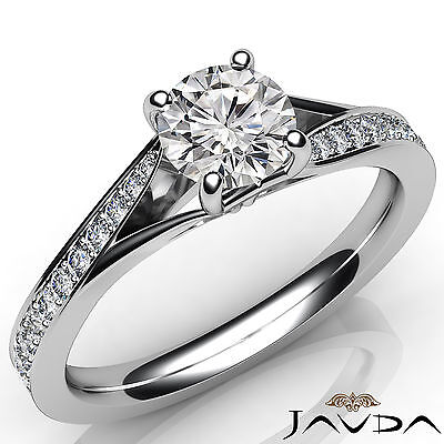 Micro Pave Set Round Diamond Engagement Cathedral Ring GIA F VS2 Clarity 1.06Ct