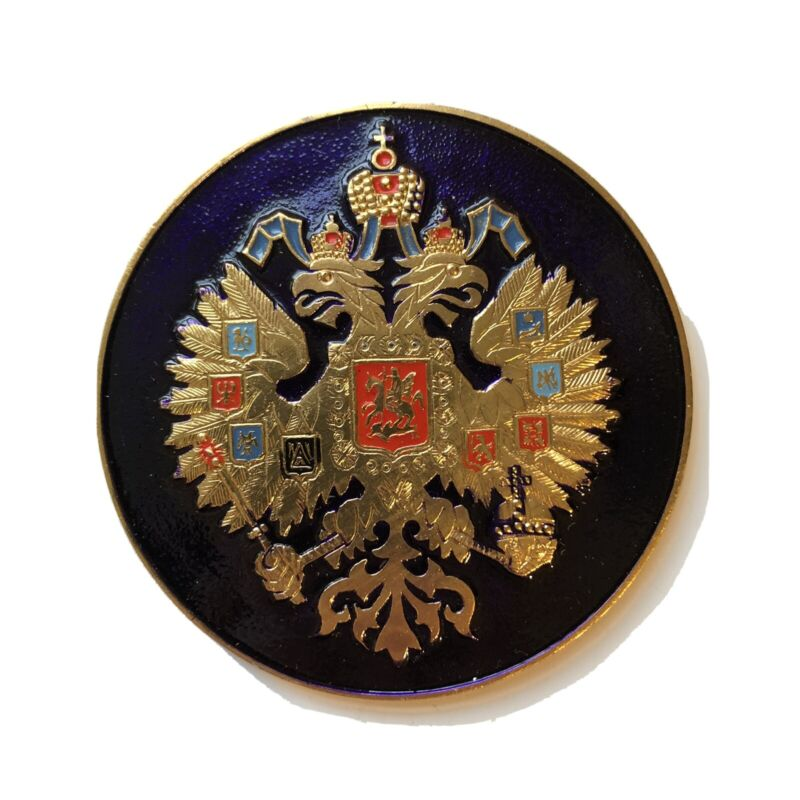 RUSSIAN IMPERIAL EAGLE. RUSSIA COAT OF ARMS CREST BADGE