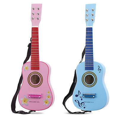 Kindergitarre pink blau Spielzeug Gitarre Akustikgitarre Metallsaiten mit Gurt