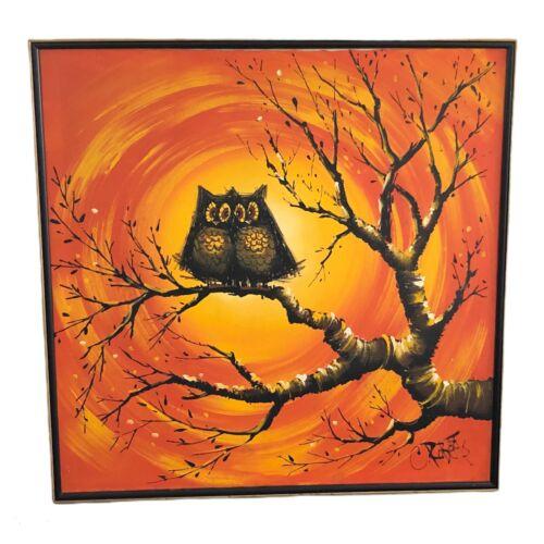 C. Roberts Painting Owls Acrylic Canvas Framed 37x37 Vtg 70s Mid Century Modern