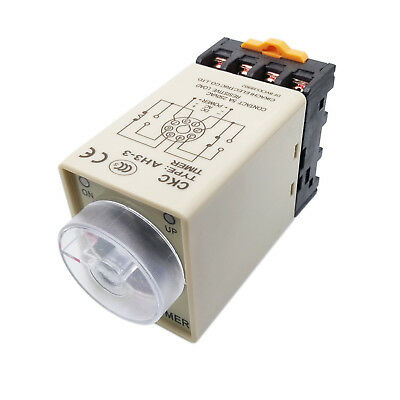 Us Stock Ah3-3 0-60 Minutes 8 Pin Housing Delay Timer Time Relay 12vdc Base