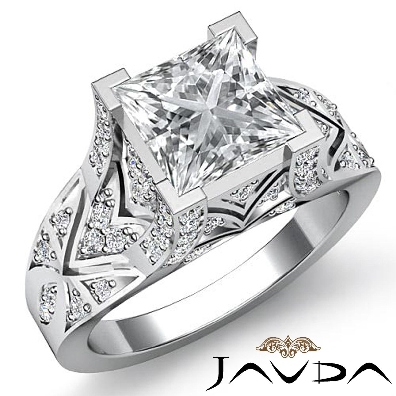 1.7ctw Antique Pave Princess Diamond  Engagement Ring GIA J-SI2 White Gold