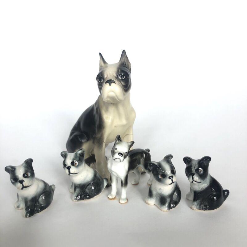 Vintage Boston Terrier Dog Lot Of 6 Bone China Porcelain Ceramic Figurine Japan