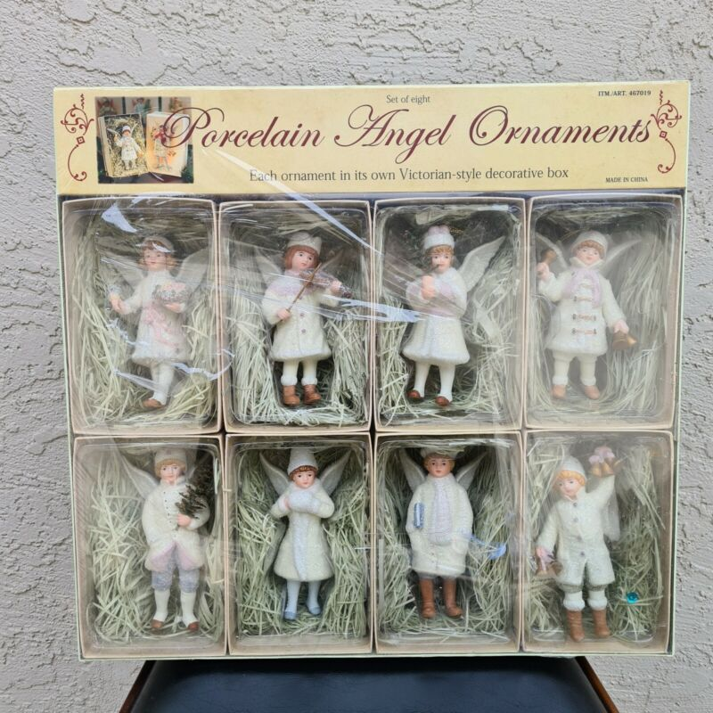 NEW Porcelain Angel Victorian Style Ornaments Set of 8 Costco