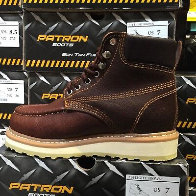 MEN'S WORK BOOTS MOC TOE GENUINE LEATHER LACE UP SAFETY BROWN PADDED COLLAR SOFT
