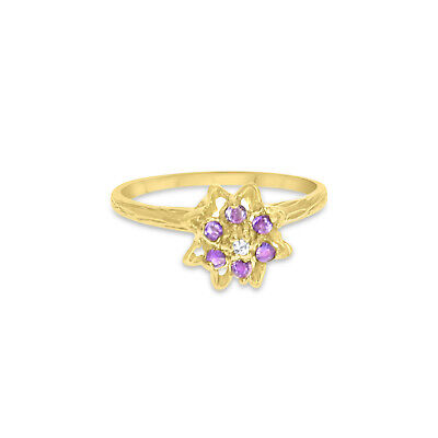 Blue Topaz or Amethyst Tulip Flower Ring w/ Rope Band - 14k Yellow Gold  Yellow Gold Tulip