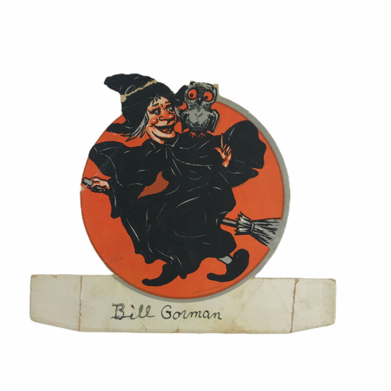 Vintage 1926 Halloween Place Card Witch On Broom Owl Orange Black Used At Party