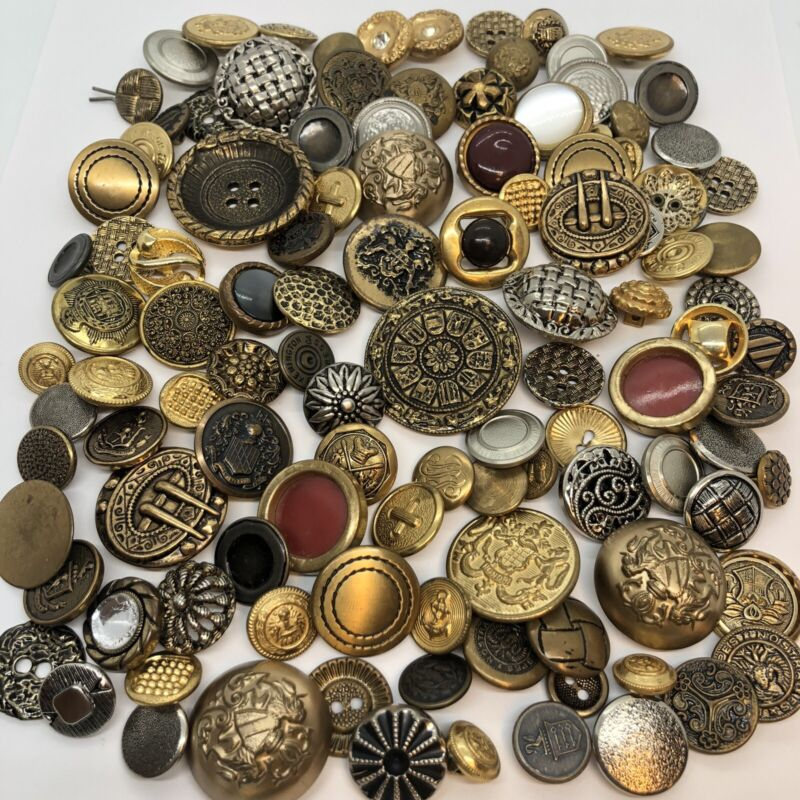 Vintage Metal Button Lot Silver Gold Tone Twinkle Family Crest Uniform 8 oz