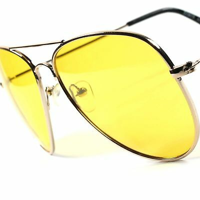 Large Day Night Driving Yellow Lens Best Mens Womens Aviator Sunglasses (Best Aviator Sunglasses For Women)