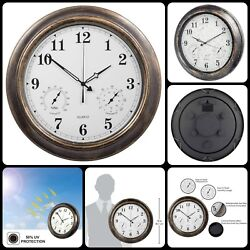 Indoor Outdoor Large Wall Clock Waterproof With Temperature Humidity 18 Inch New