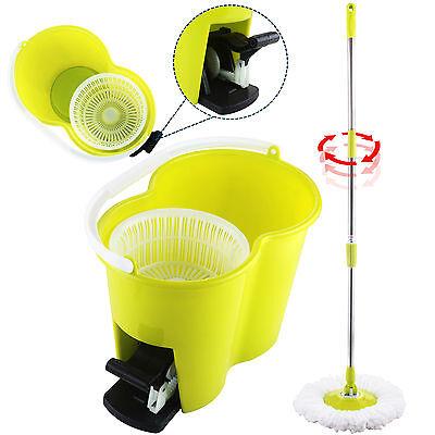Magic Spin Easy Floor Mop Bucket 2 Head Green 360° Rotating Microfiber Spinning