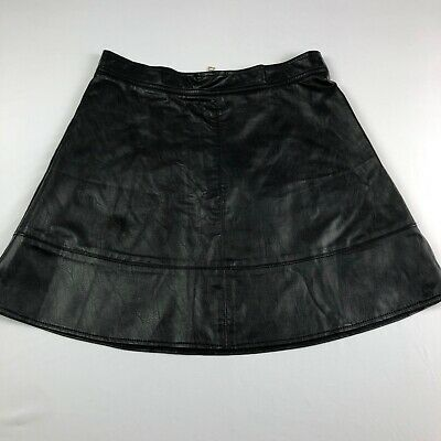 Rewash Womens Black Faux Leather A-line Skirt Size M