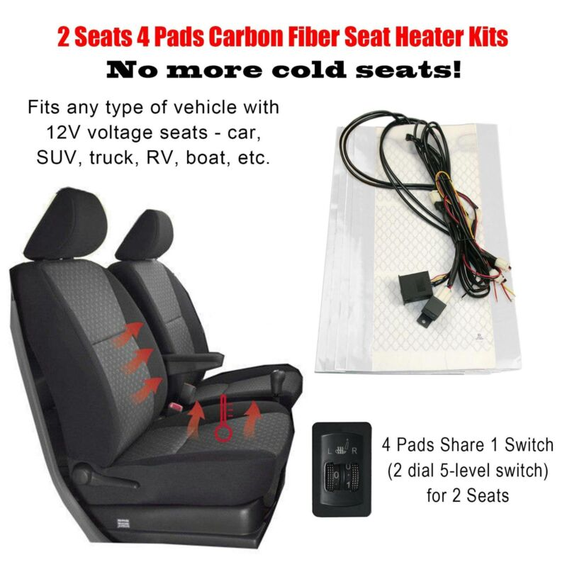 4 Pads Car Cushion Warmer Heated Seat Heater Kit Carbon Fiber With Switch 12v Ebay