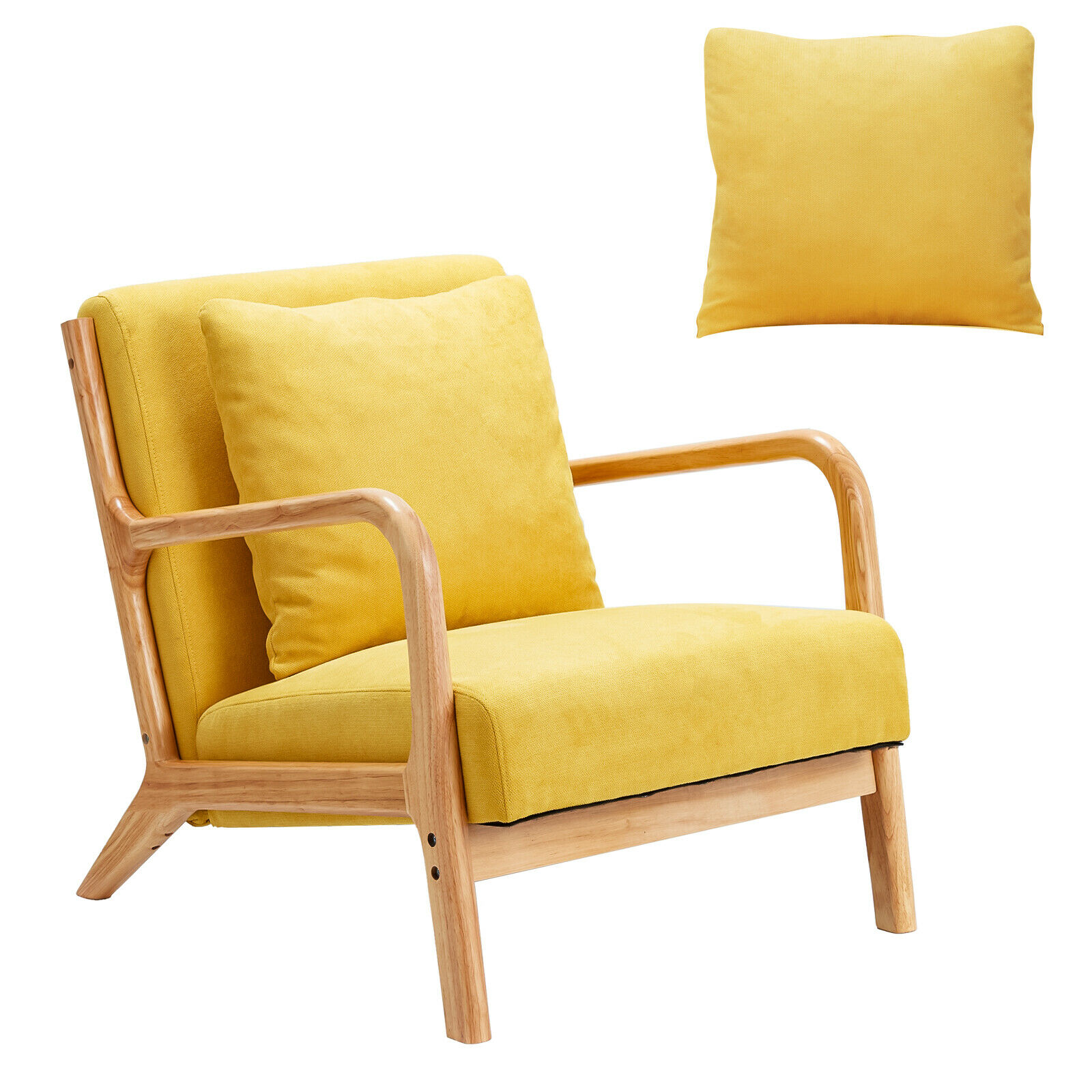 Esright Mid Century Accent Chair Wooden Modern Living Room Arm Chair Yellow Chairs