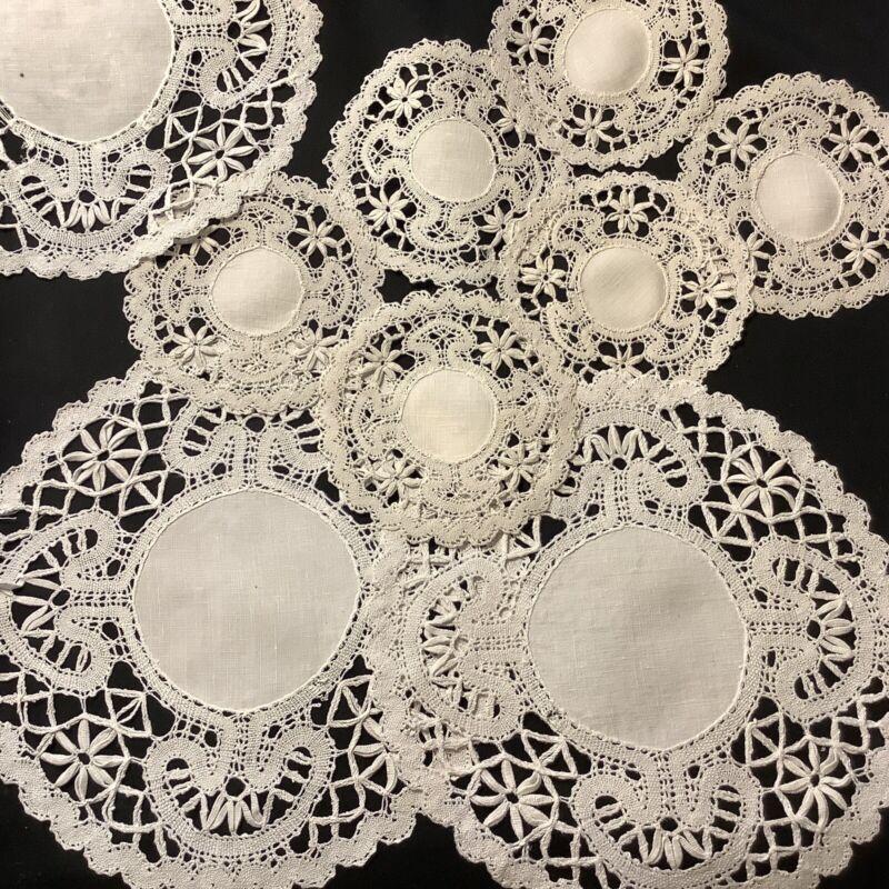 #6919🌟Table Service (9) ANTIQUE Bobbin Fine Lace Coasters & Table Serv Doilies