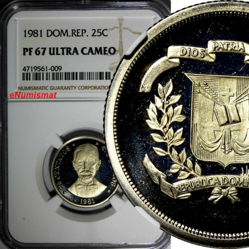 Dominican Republic PROOF 1981 25 Centavos NGC PF67 ULTRA CAMEO Mintage-3000 KM51