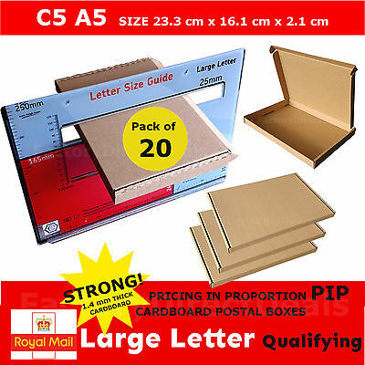 20 x  PIP POSTAL BOXES SIZE C5 A5 ROYAL MAIL LARGE LETTER STRONG CARDBOARD BOX