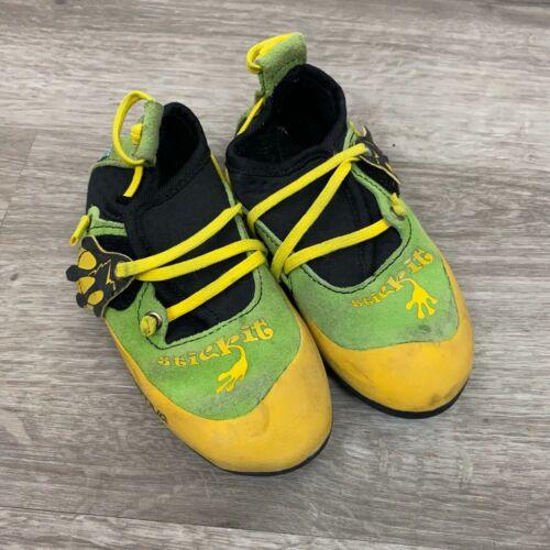 La Sportiva Stickit kids boys girls climbing shoes Youth size 10-11 yellow green