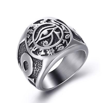 Men Stainless Steel Ring Egyptian Eye of Horus Cross of Life Symbol Jewelry - Eye Rings