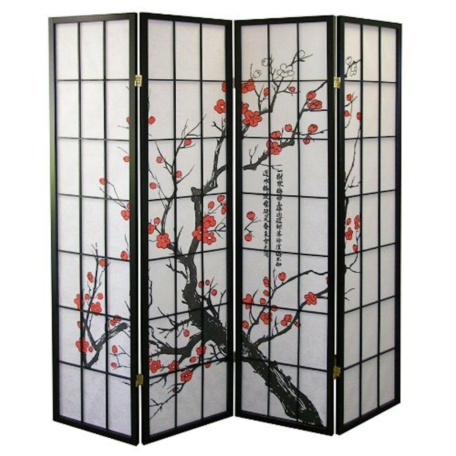 4, 6, 8 Panel Plum Blossom Screen Room Divider White & Black