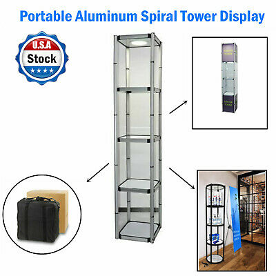 81.1in Square Portable Aluminum Spiral Tower Display Case With Shelves Top Light