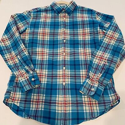 J CREW Oxford Mens Plaid Shirt button down Blue Tailored Fit Size M 100% Cotton ()