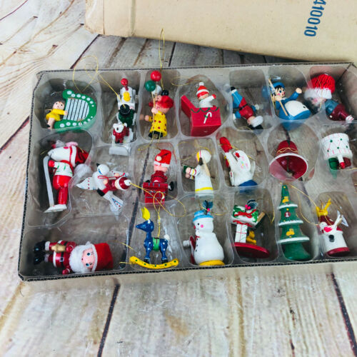 Vtg Lot of Mini Wood Christmas Tree Ornaments New In Box