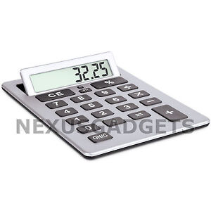 Silver-Extra-Large-Big-Giant-Calculator-Jumbo-Huge-Buttons-8-Digit-Flip-Up-LCD
