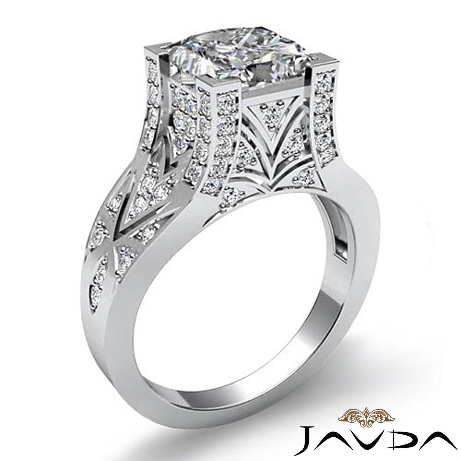 1.5ctw Antique Pave Princess Diamond  Engagement Ring GIA F-VS1 White Gold 1