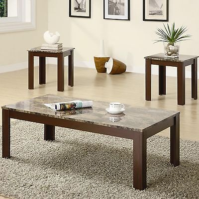 Wooden Coffee Table and End Table w Brown Marble Look Top 3Pc Set Furniture ()