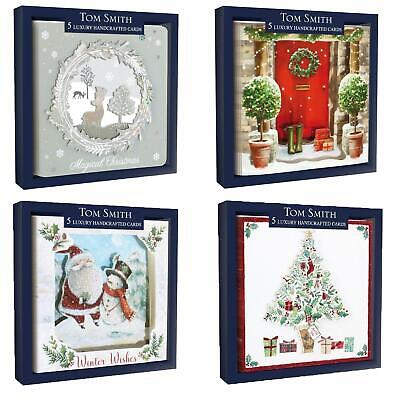 Tom Smith Luxury Handcrafted Pack of 5 Boxed Christmas Cards - Choose Design ()