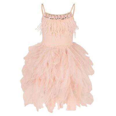 Premium Blumenmädchen Boutique Kleid Mädchen Blush Rosa Federn Gem Rüschen Kleid