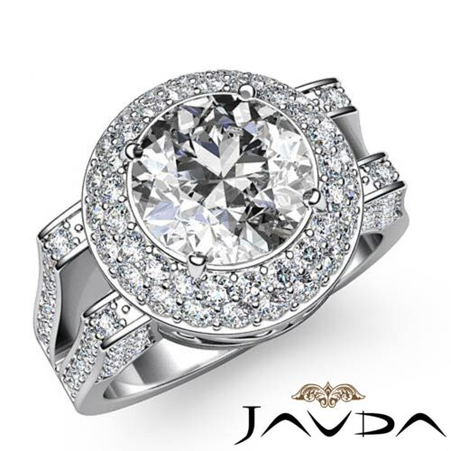 Double Halo Split Shank Round Cut Diamond Engagement Gold Ring GIA H VS1 2.6 Ct