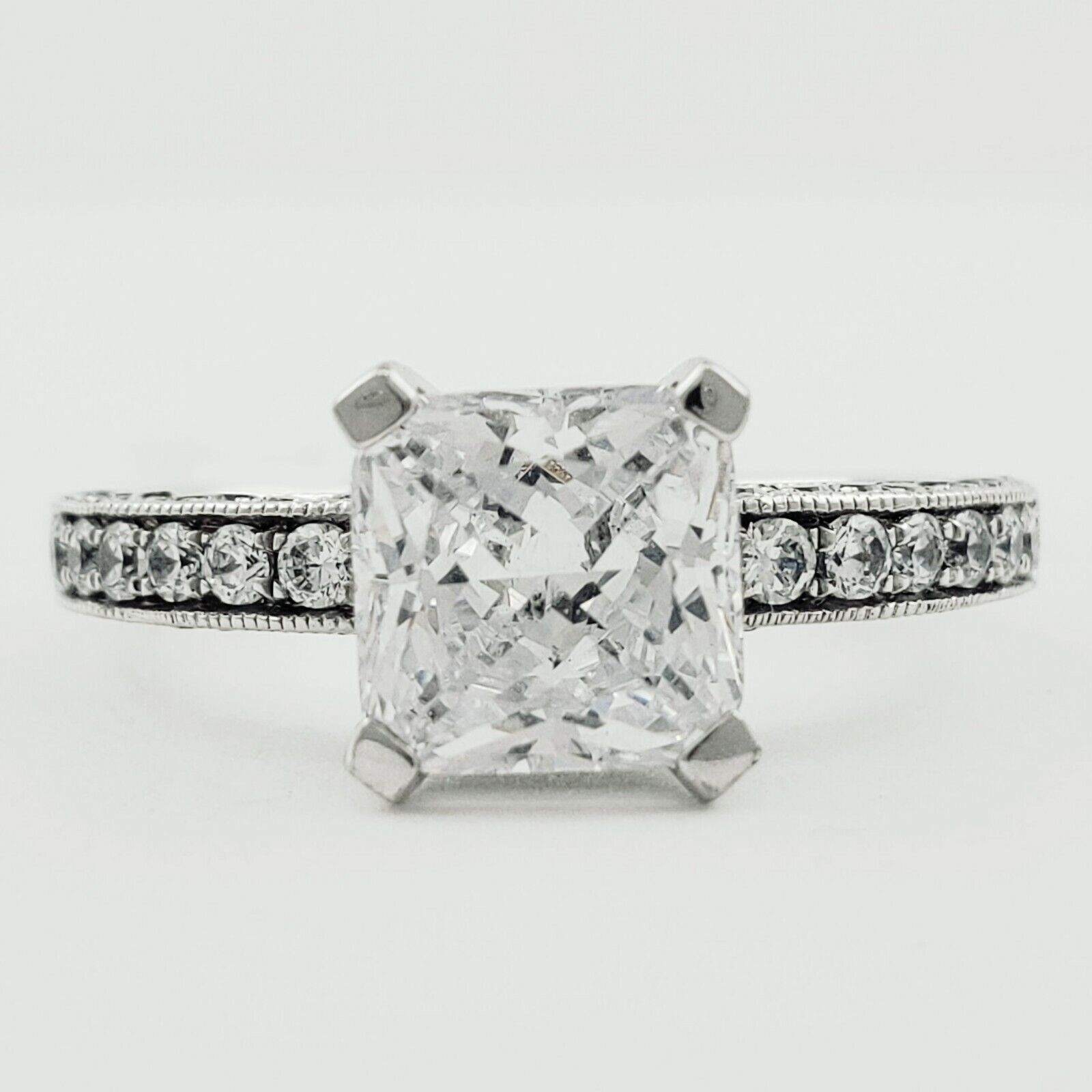 GIA Certified Diamond Engagement Ring 1.97 carat Cushion Shape 18K White Gold