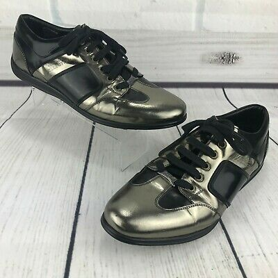 Versace Collection Men Fashion Sneakers 41 US 8 Black Leather Metallic Gunmetal