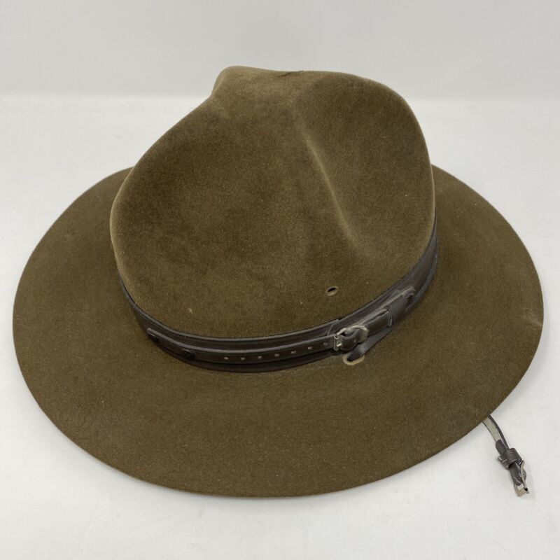 Boy Scout LEADER Campaign Hat with Leather Band & Chin Strap Sz  7 1/4