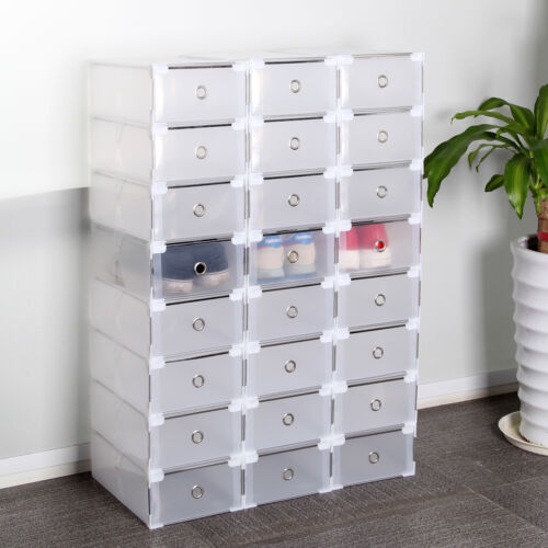 Marvelous 24 Foldable Clear Plastic Shoe Box Drawer Stackable Home Storage Box  Organiser