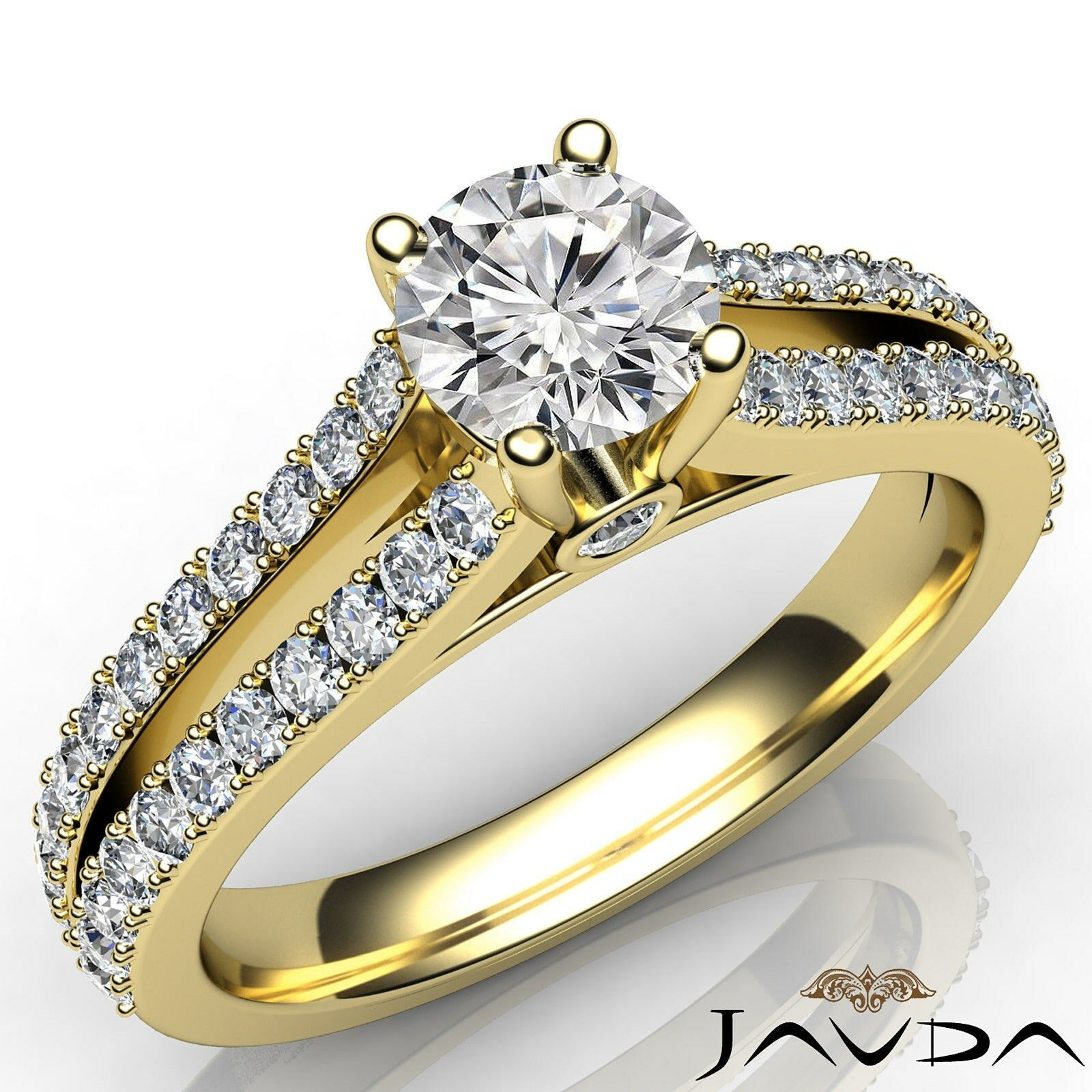 2 Row Split Shank Double Prong Round Diamond Engagement Ring GIA E VS2 1.15 Ct