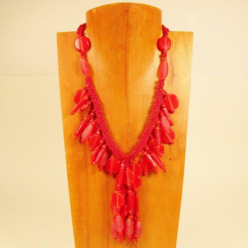 50 PCS Classic Vintage Short Tassel Valentine Red Handmade Seed Bead Necklace
