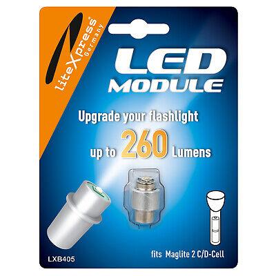 LITEXPRESS LED Upgrade Modul 278 Lumen für 2 C/D Maglite Taschenlampe – LXB405 Maglite Led Upgrade Modul