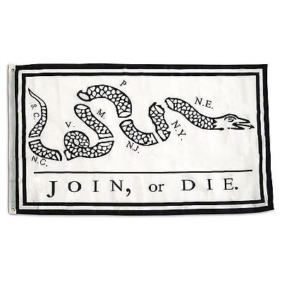 3X5 Join Or Die Benjamin Franklin Snake White Flag 3X5 House Banner Grommets