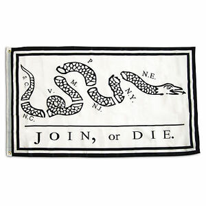 3x5 Join or Die Benjamin Franklin Snake White Flag 3'x5' House Banner Grommets