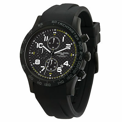 Jorg Gray Men's JG2000-13 Sport Chronograph Black IP Steel Rubber Strap Watch