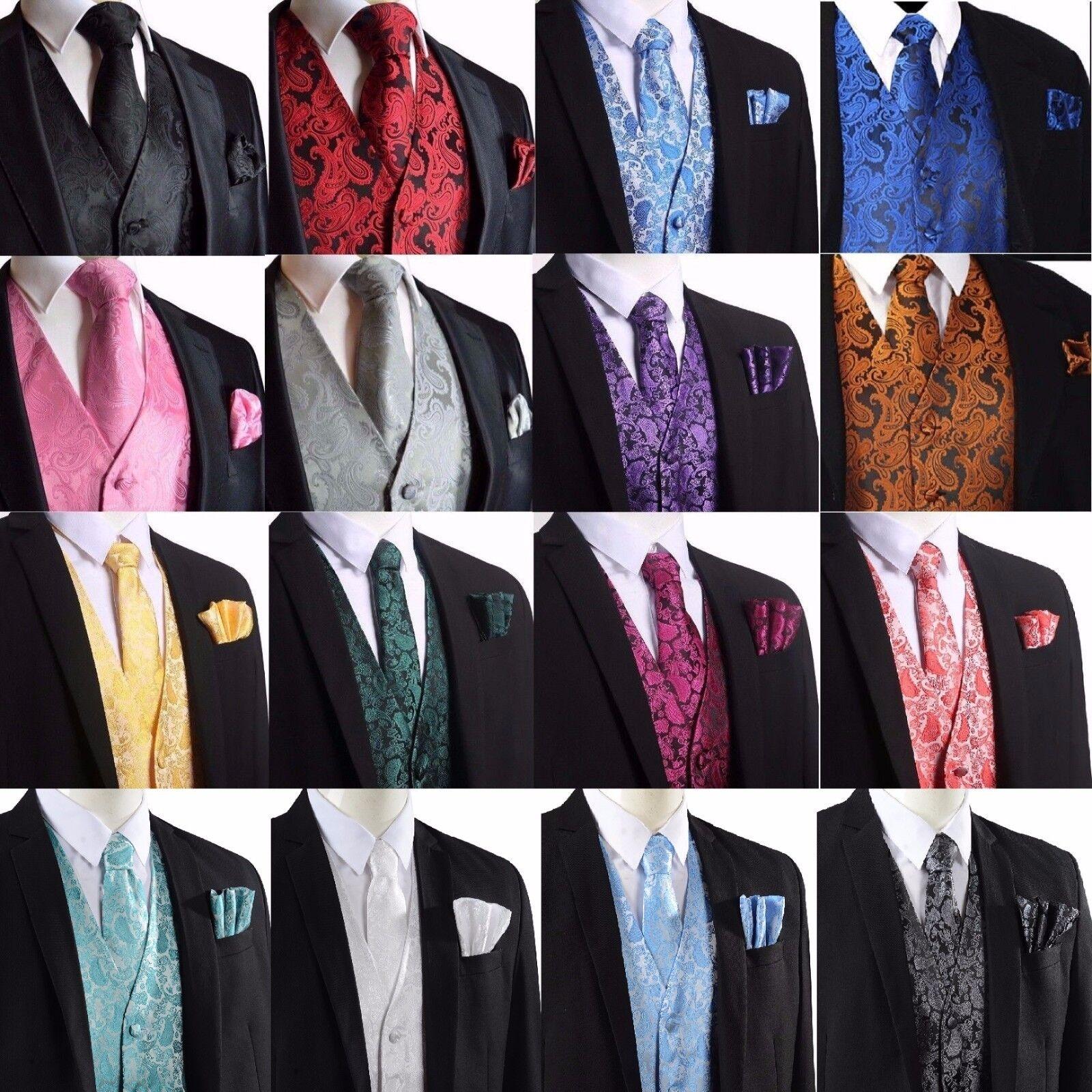 Herren Paisley Design Weste Weste und Krawatte Taschentuch Set für Anzug - UK