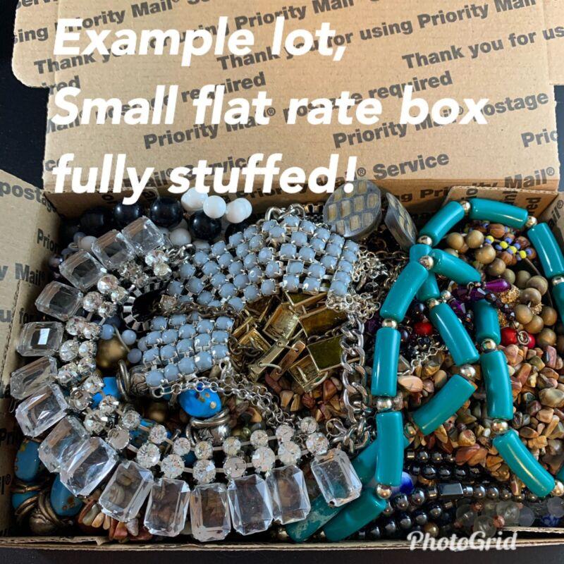 Vintage to now junk drawer jewelry lot- craft, wear, repair, repurpose, 2.5+ Lbs