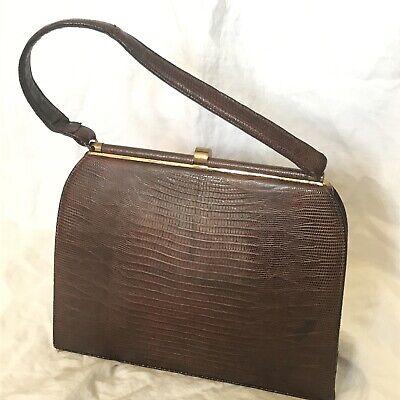 1950s Handbags, Purses, and Evening Bag Styles Vintage Bellstone Mid-Century Tegu Lizard Handbag Purse 1950s Handle Wear $18.50 AT vintagedancer.com